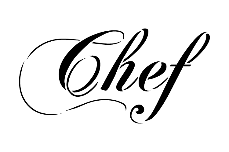 "Chef - Elegant Script - Word Stencil - 18"" x 10"" - STCL1336_4 by StudioR12"