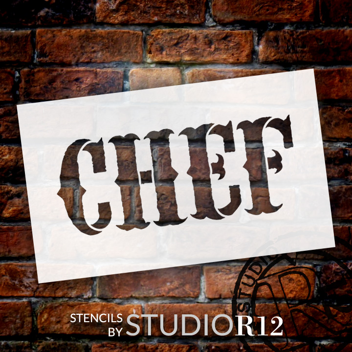 """Chef - Vintage Carnival - Word Stencil - 7"""" x 4"""" - STCL1337_2 by StudioR12"""