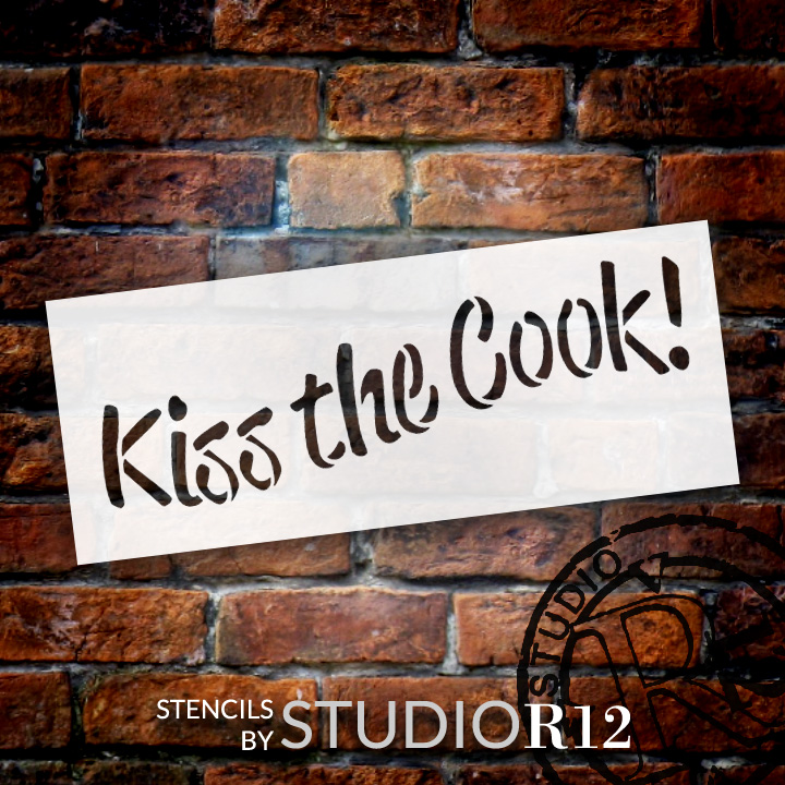 """Kiss the Cook - Word Stencil - 7"""" x 3"""" - STCL1339_2 by StudioR12"""