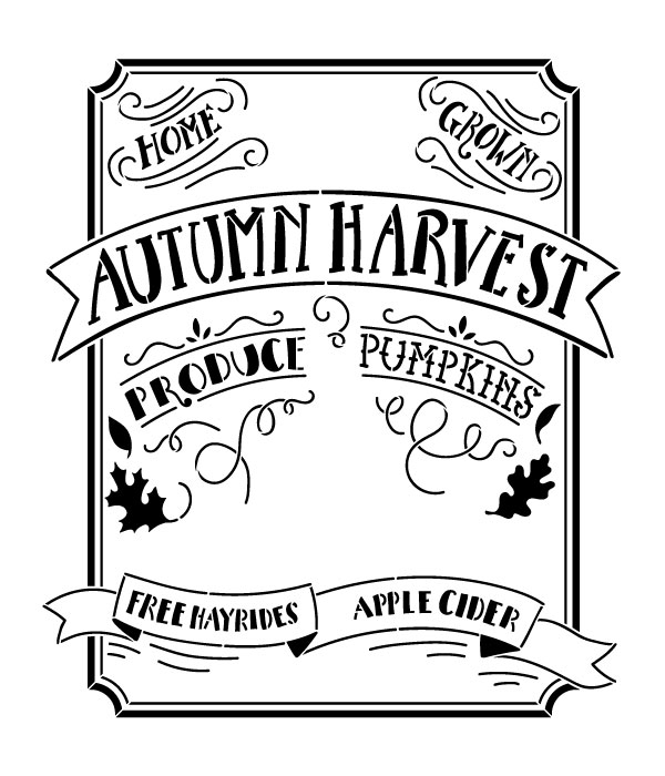 "Autumn Harvest Sign - Word Art Stencil - 12"" x 14"" by StudioR12"