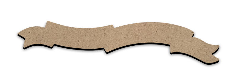 "Wood Banner Embellishment - Alternating Forked Ribbon - 10-1/2"" x 2-1/4"""