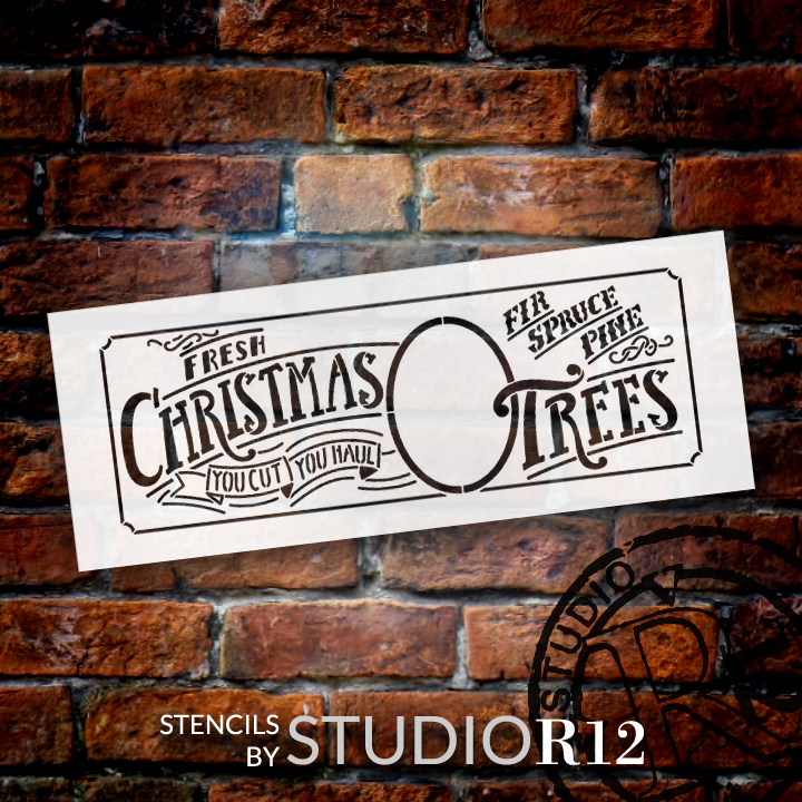 "Fresh Christmas Trees - Word and Art Stencil - 13"" x 5"" - STCL1343_1 by StudioR12"
