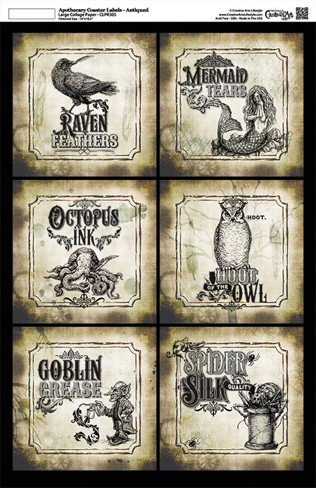 Apothecary Coaster Labels - Antiqued - Collage Papers - 11x17 - CLPR305