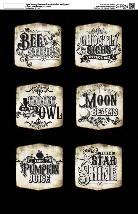 Apothecary Concoction Labels - Antiqued - Collage Papers - 11x17 - CLPR306