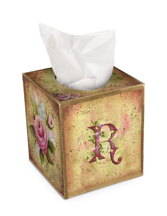Monogrammed Rose Tissue Box - E-Packet  - Patricia Rawlinson