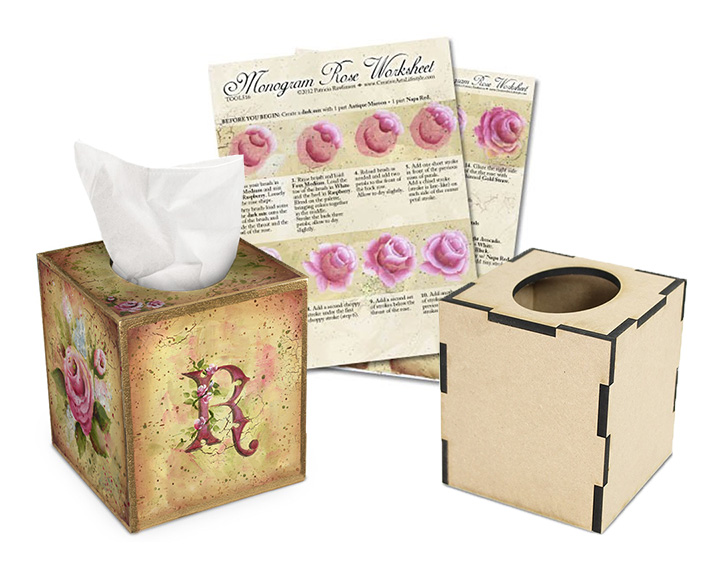 Monogrammed Rose Tissue Set