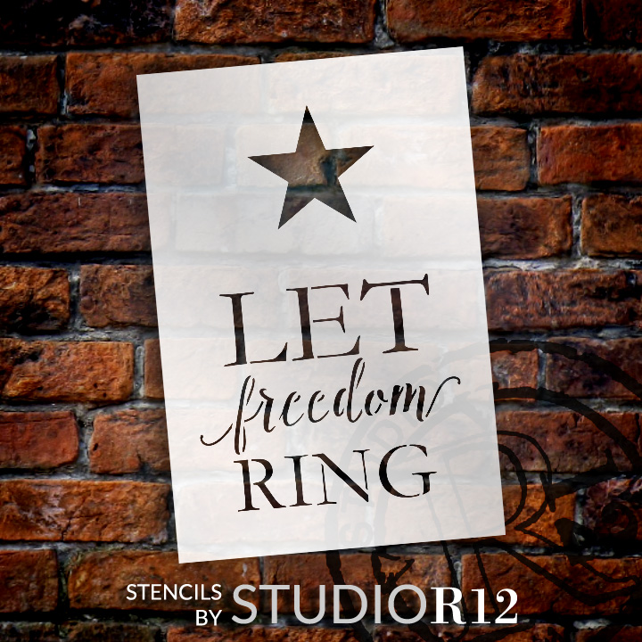 """Let Freedom Ring - with Star - 4"""" x 6"""" - STCL1360_1 by StudioR12"""