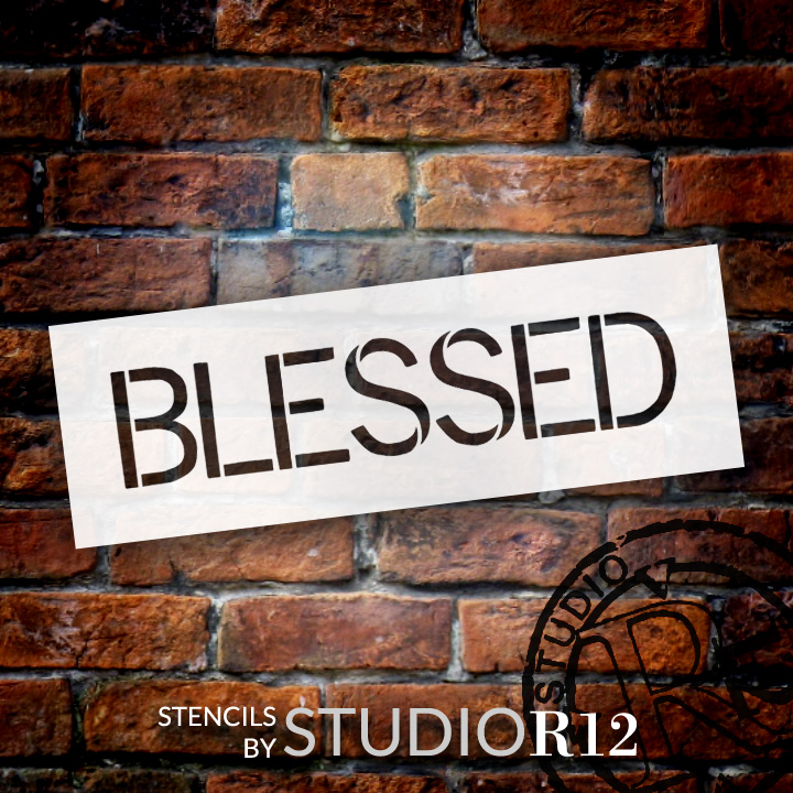 """Blessed - Simple Sans - Word Stencil - 9"""" x 3"""" - STCL1348_2 by StudioR12"""