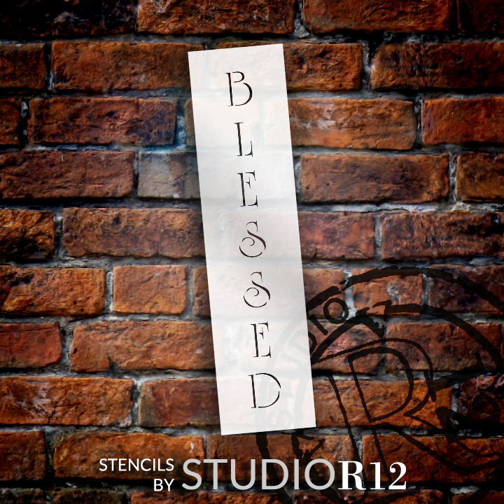 """Blessed - Vertical Country Elegant - Word Stencil - 8"""" x 2"""" - STCL1349_1 by StudioR12"""