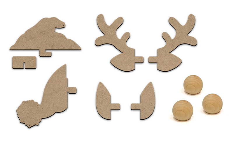 Merry Christmas Crew Wood Embellishment Set