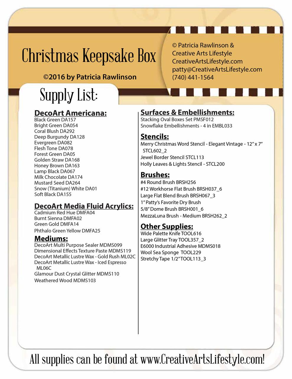 Christmas Keepsake Box Pattern Packet - Patricia Rawlinson