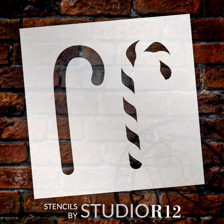 "Christmas Candy Cane Stencil - 7"" x 7"" by StudioR12"
