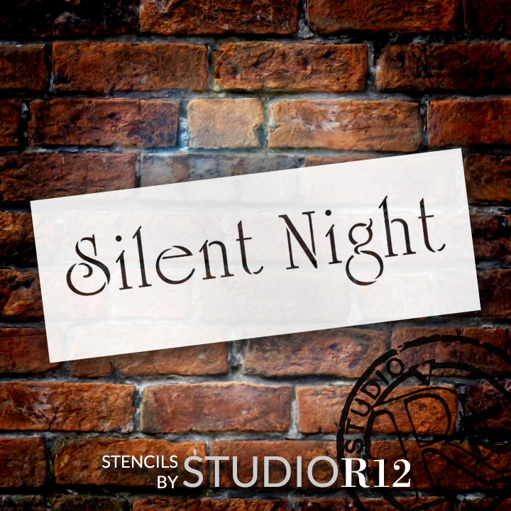 "Silent Night - Christmas Stencil - 15"" x 4.5"" - STCL1369_3 - by StudioR12"
