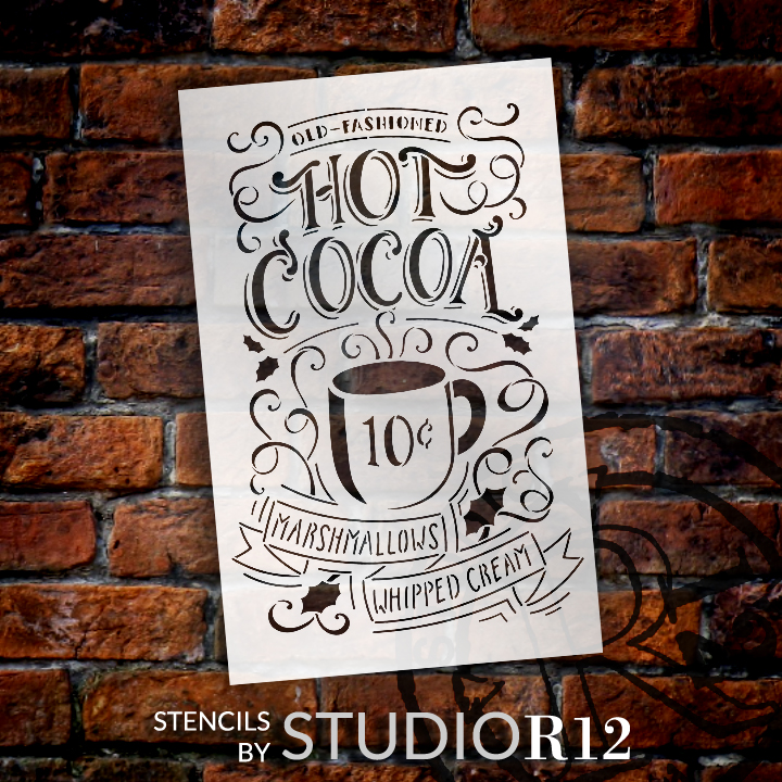 "Old Fashioned Hot Cocoa Sign Stencil - By StudioR12 - (10"" x 16"") STCL1384_1"