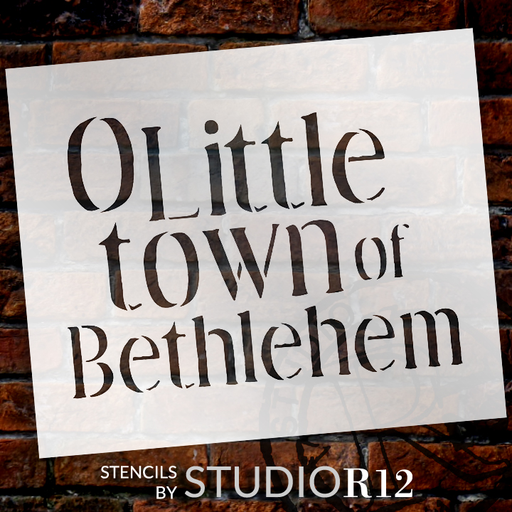 "Little Town of Bethlehem - Christmas Stencil - 16"" x 12"" - STCL1381_3 - by StudioR12"