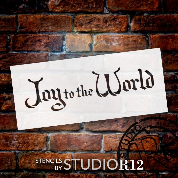 "Joy To The World - Christmas Stencil - 21"" x 9"" - STCL1374_3 - by StudioR12"