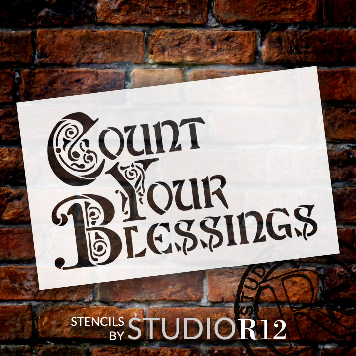 """Count Your Blessings - Illuminated - Word Art Stencil - 8"""" x 5"""" - STCL1352_1 by StudioR12"""