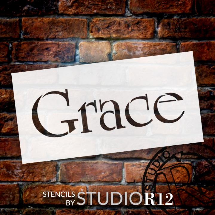 "Grace - Elegant Traditional - Word Stencil - 9"" x 4"" - STCL1359_2 by StudioR12"