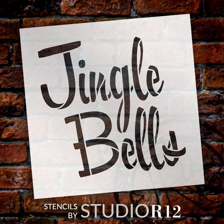 """Jingle Bells - Chunky Script - Word Stencil - 12"""" x 12"""" - STCL1366_3 by StudioR12"""