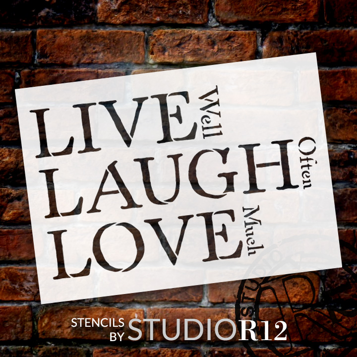 """Live, Laugh, Love - Traditional Stacked - Word Stencil - 7"""" x 5"""" - STCL1371_1 by StudioR12"""