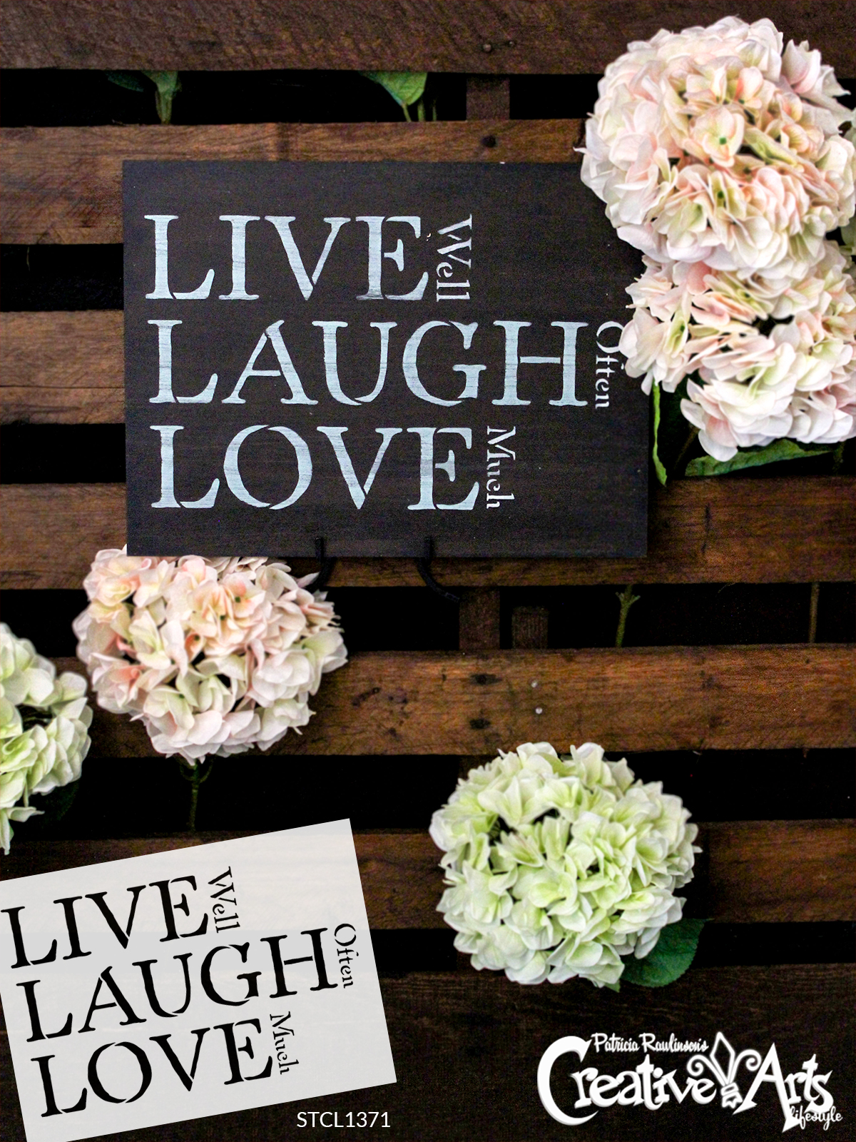 """Live, Laugh, Love - Traditional Stacked - Word Stencil - 17"""" x 11"""" - STCL1371_3 by StudioR12"""