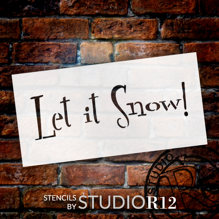"Let It Snow - Funky Retro - Word Stencil - 6"" x 3"" - STCL1389_1 by StudioR12"