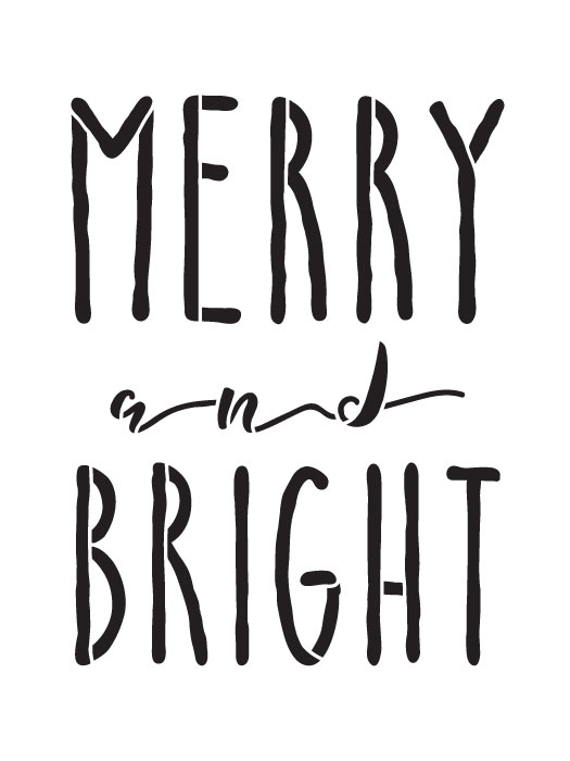 "Merry And Bright Word Stencil by StudioR12 | Reusable Template, Farmhouse Style, Vintage Country Christmas - 6"" x 8"" - STCL1396_1"