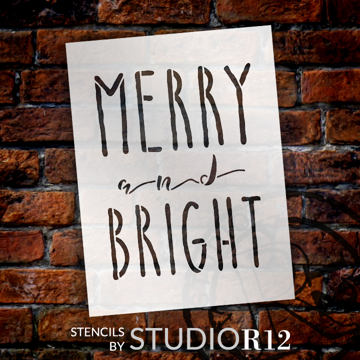 """Merry And Bright Word Stencil by StudioR12 