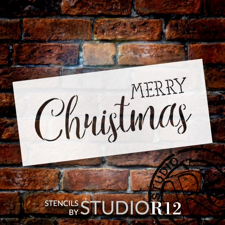 "Merry Christmas - Trendy Rustic Script - Word Stencil - 9"" x 4"" - STCL1397_1 by StudioR12"