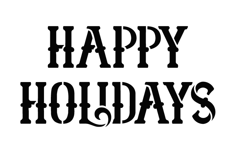 "Happy Holidays - Victorian Serif - Word Stencil - 6"" x  4"" - STCL1405_1 by StudioR12"