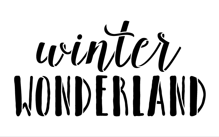"Winter Wonderland - Skinny & Script - Word Stencil - 8"" x  5"" - STCL1407_1 by StudioR12"