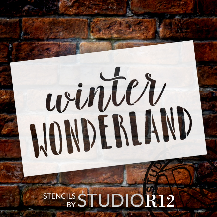 "Winter Wonderland - Skinny & Script - Word Stencil - 16"" x  9"" - STCL1407_3 by StudioR12"