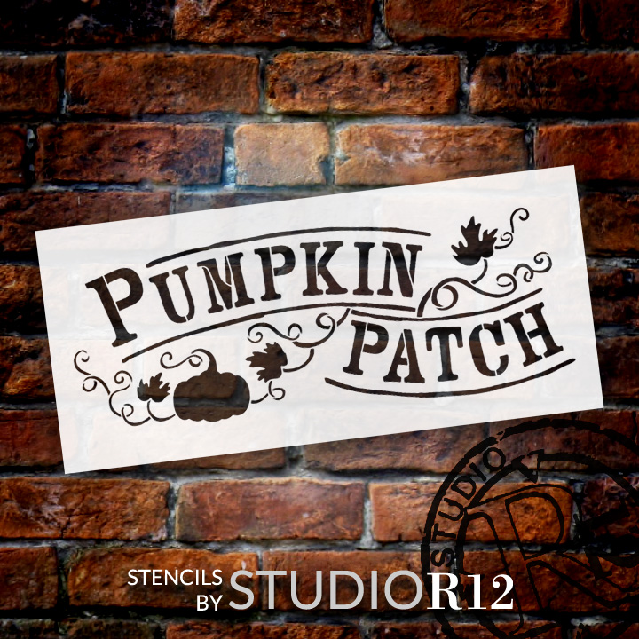 "Pumpkin Patch - Hand-Drawn Vines - Word Art Stencil - 20"" x 9"" - STCL1454_3 by StudioR12"