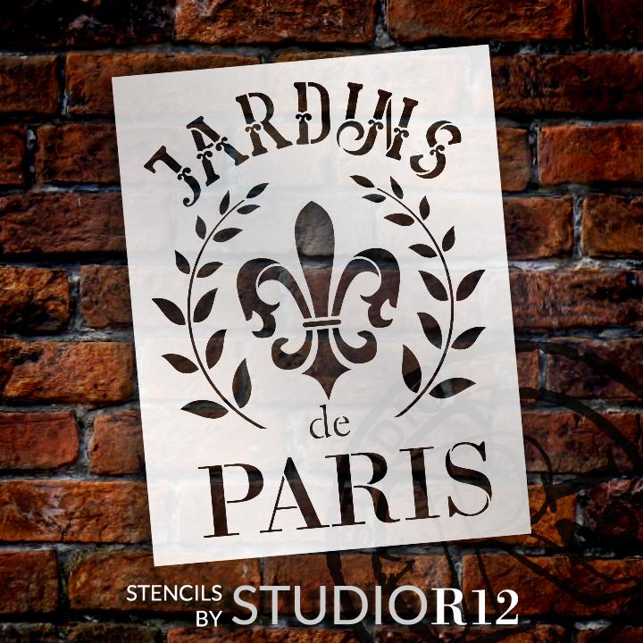 "Jardins De Paris - Wreath & Fleur - Word Art Stencil - 8 1/2"" x  11"" - STCL1415_1 by StudioR12"