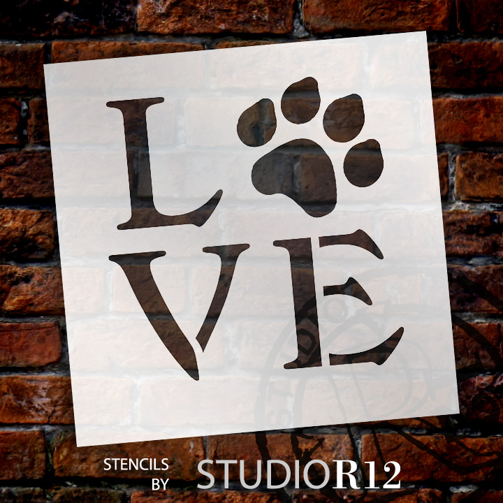 """Love - Square with Paw Print - Word Stencil - 9"""" x 9"""" - STCL1313_3 by StudioR12"""
