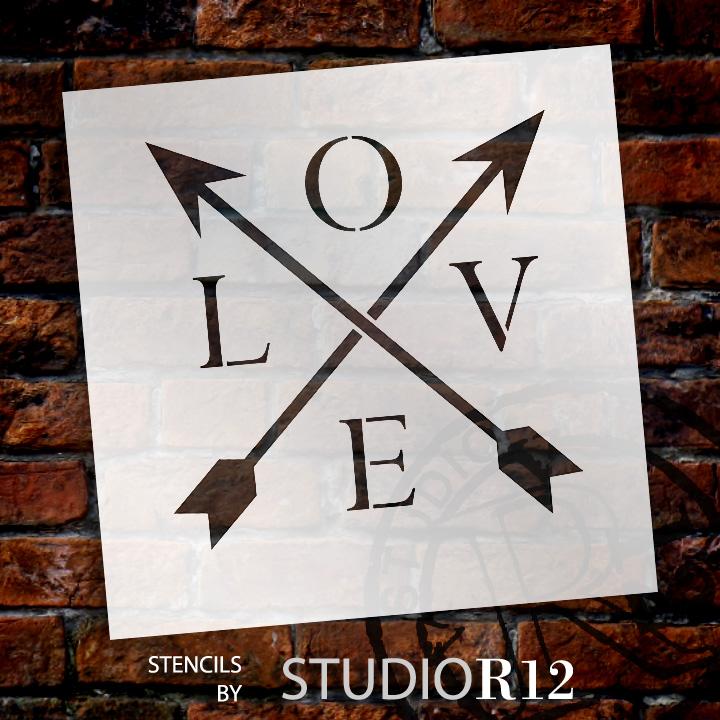 "Love - Arrows - Word Stencil - 9"" x 9"" - STCL1441_2 by StudioR12"