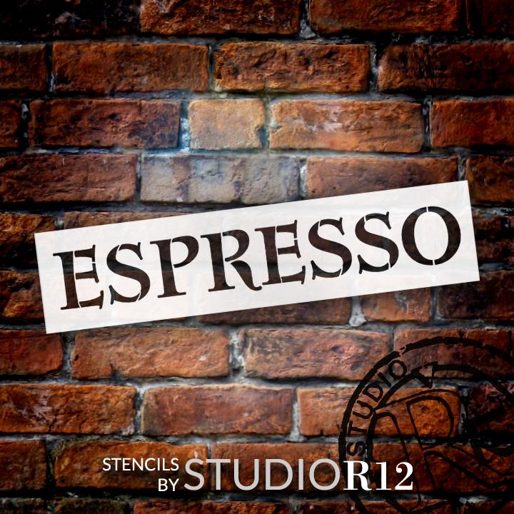 "Espresso Antique Tuscan Word Stencil - 14"" x 2 1/4"" - STCL1439_1"