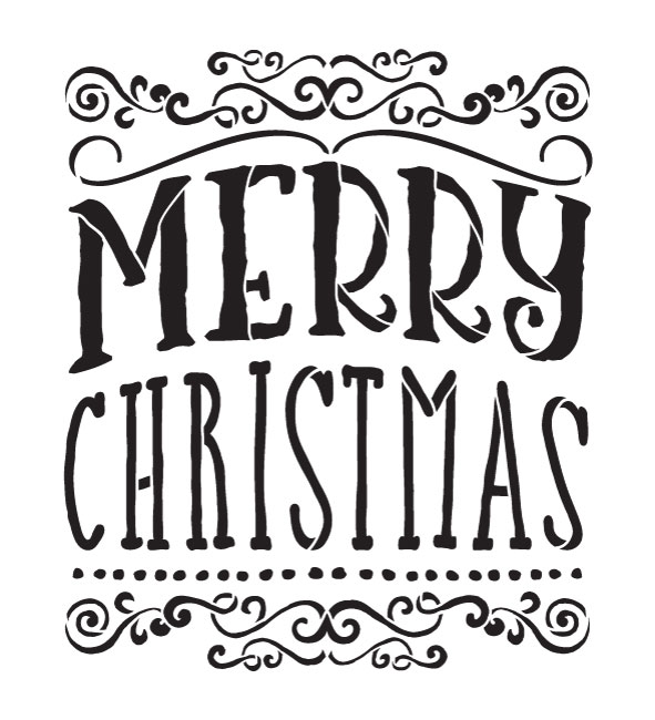 """Merry Christmas - Whimsical Swirls  - Word Art Stencil - 14"""" x  15"""" - STCL1413_2 by StudioR12"""