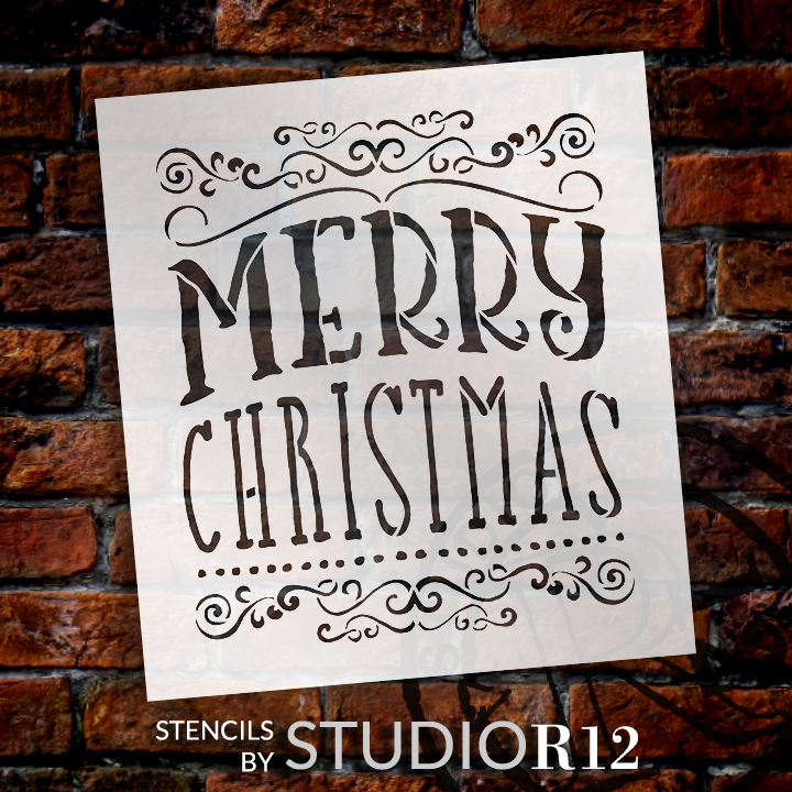 "Merry Christmas - Whimsical Swirls  - Word Art Stencil - 17"" x  19"" - STCL1413_3 by StudioR12"