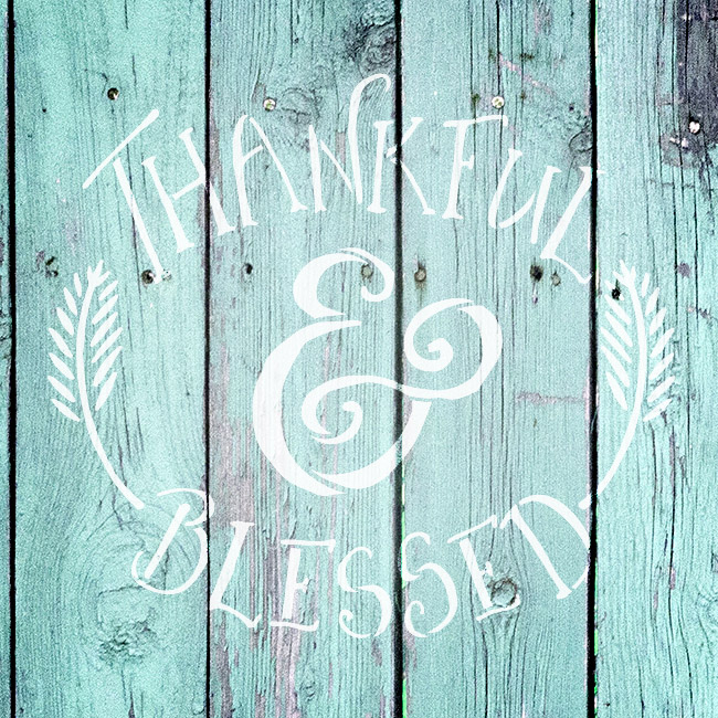 """Thankful & Blessed - Funky Fall Style - Word Art Stencil - 8"""" x 8"""" - STCL1452_1 by StudioR12"""