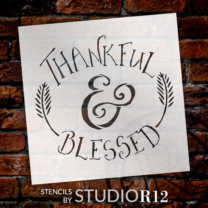 "Thankful & Blessed - Funky Fall Style - Word Art Stencil - 12"" x 12"" - STCL1452_2 by StudioR12"