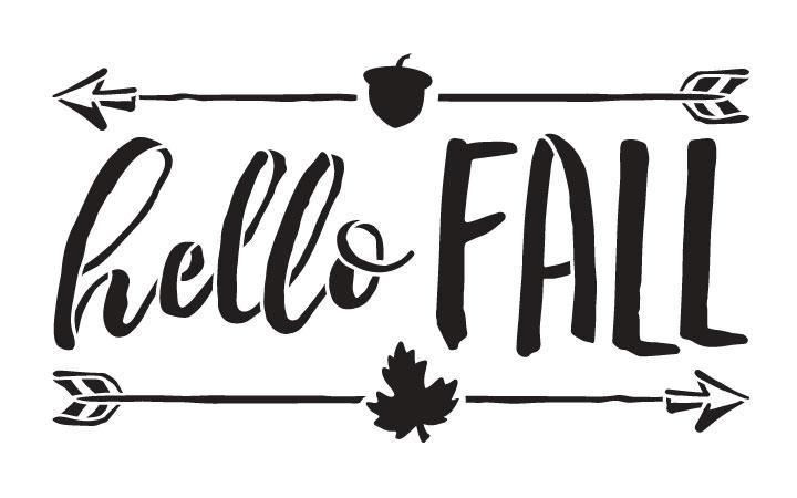"Hello Fall - Shabby Chic - Word Art Stencil - 8"" x 5"" - STCL1453_1 by StudioR12"