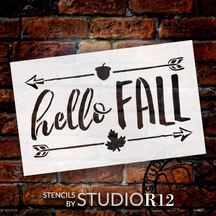 "Hello Fall - Shabby Chic - Word Art Stencil - 16"" x 10"" - STCL1453_3 by StudioR12"