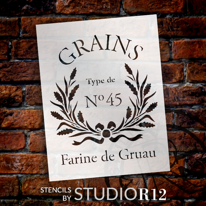 "Farine De Gruau - Word Art Stencil - 11 1/2"" x  15"" - STCL1427_2 by StudioR12"