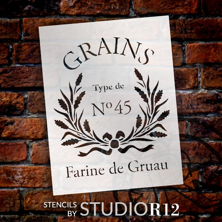 "Farine De Gruau - Word Art Stencil - 14 1/2"" x  19"" - STCL1427_3 by StudioR12"