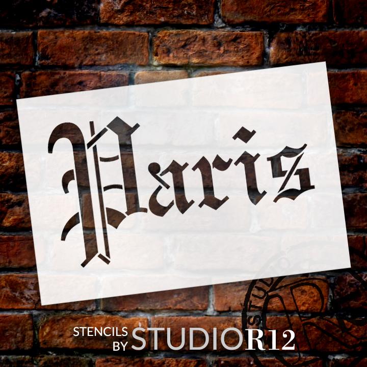 "Paris Gothic Word Stencil - 12"" x  8"" - STCL1417_3 by StudioR12"