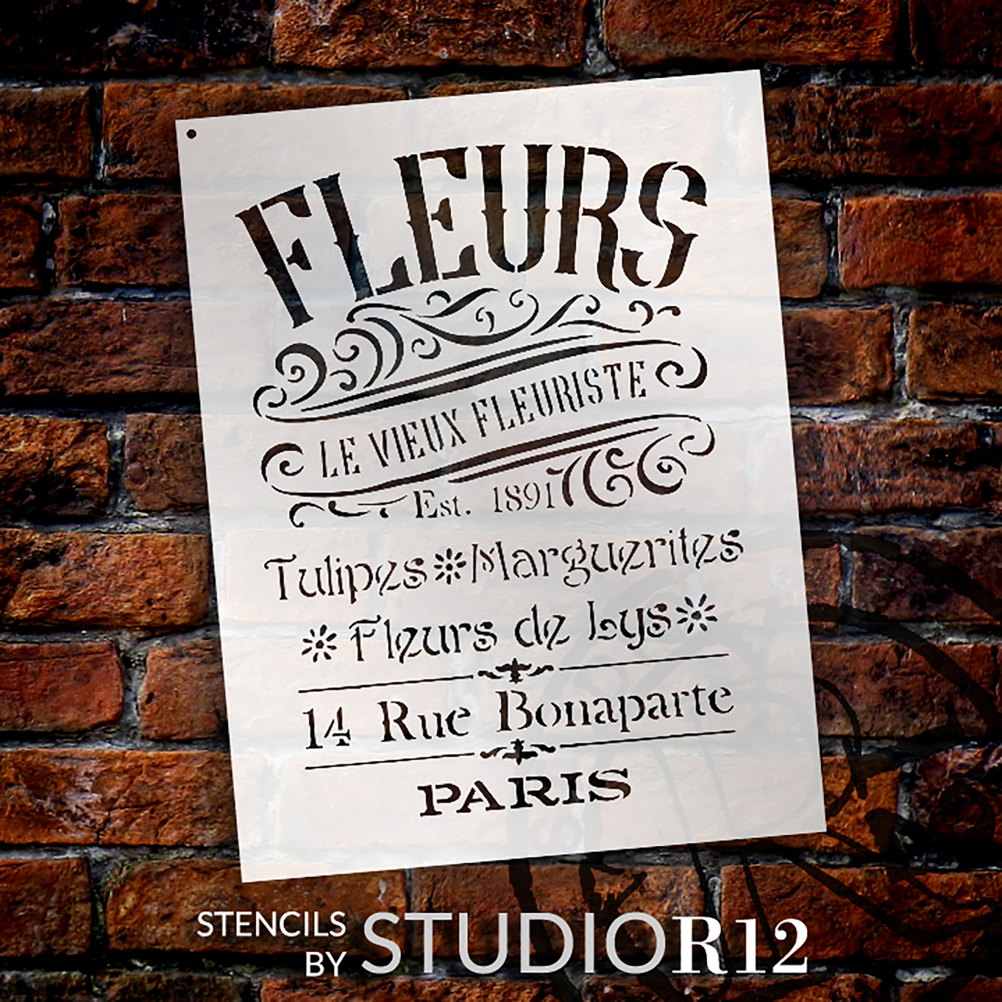 """The Old French Florist Word and Art Stencil - 8 1/2"""" x 11"""" - STCL1429_1 - by StudioR12"""