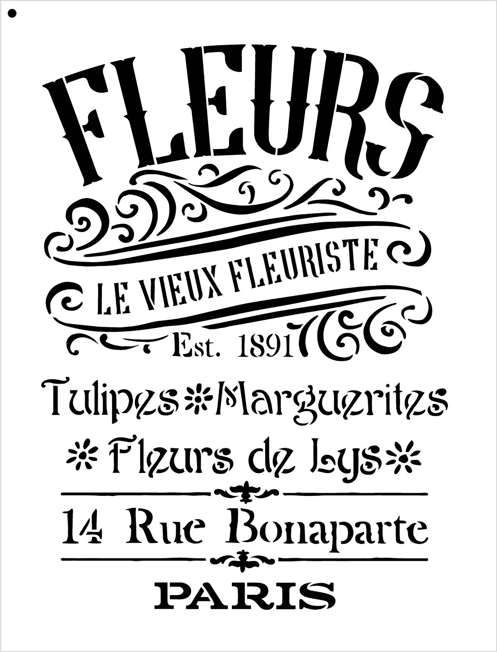 """The Old French Florist Word and Art Stencil - 14.5"""" x 19"""" - STCL1429_3 - by StudioR12"""