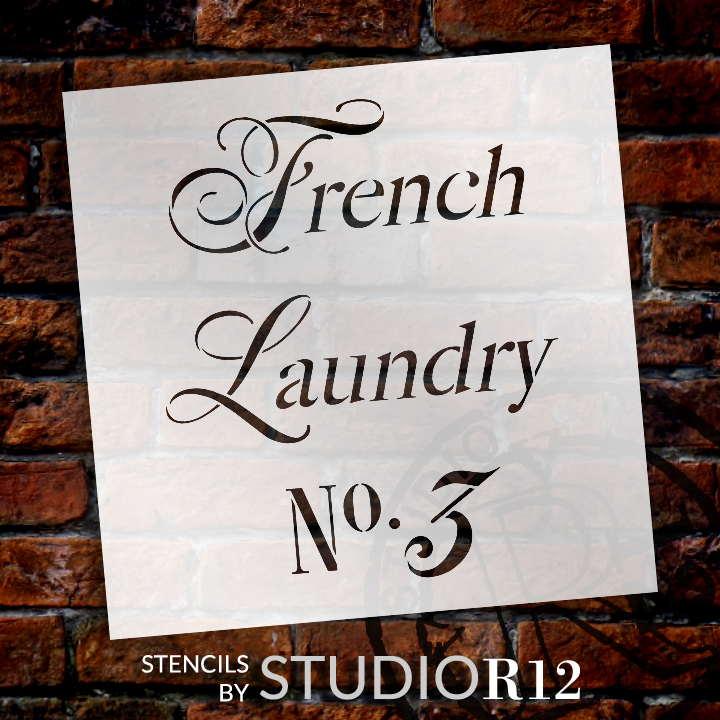 """French Laundry - Word Stencil - 11"""" x  11"""" - STCL1419_2 by StudioR12"""
