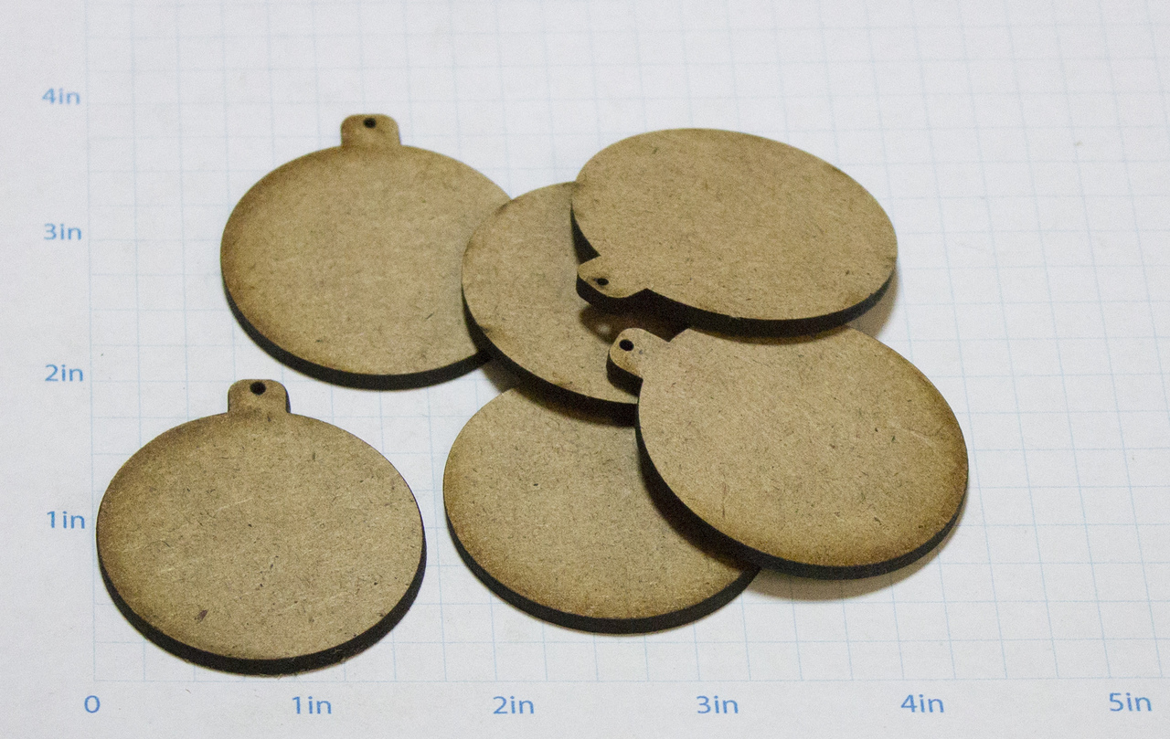"Simple Round Ornament Wood Embellishment Mini - 7/8"" x 1 7/8"""